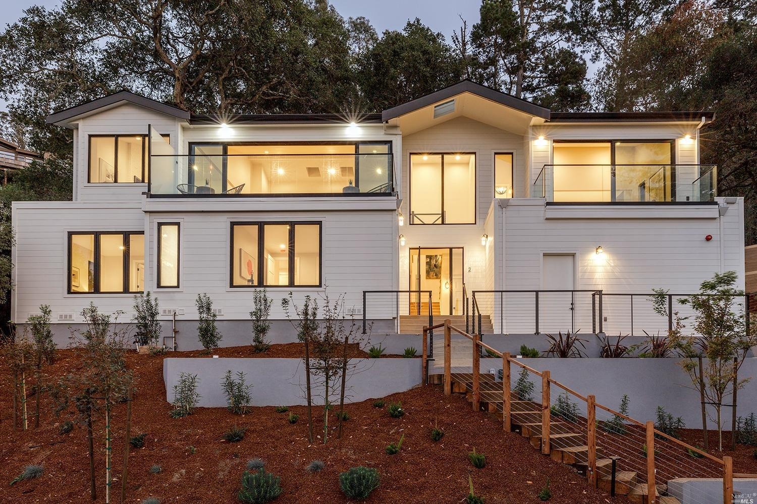 One of the Bay Area's most prolific developers has just released a contemporary beach inspired home of unparalleled design. Grand in scale, the two level residence offers high ceilings, tall walls of glass, and all day natural light. In addition to the breathtaking views, there is a large flat private backyard. The five bedroom, five and a half bathroom  +4400 square foot residence on .61 acres, has a highly desirable, versatile floorplan with a fabulous, huge, open great room, as well as a lower level media room. In addition there is an additional legal 1 bedroom 1 bath guest unit. The residence is ideal for families, couples, or empty nesters.